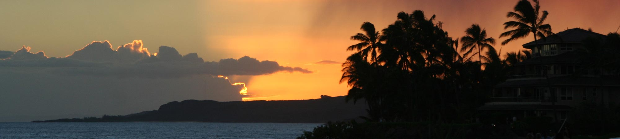 sunset over ocean from Alihi Lani luxury vacation rental, Poipu Beach, Kauai