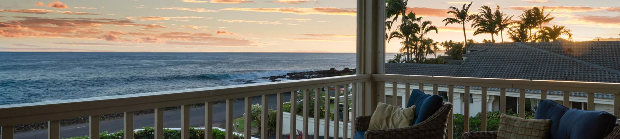 sunset over ocean from Alihi Lani luxury vacation rental, Poipu Beach, Kauai